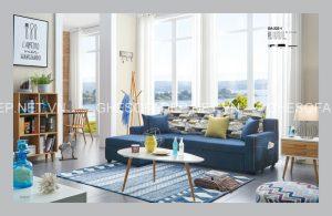 Màu xanh bình yên của ghế sofa giường đa năng đem lại cảm giác thư thái, bình yên cho đôi vợ chồng mới cưới không gian thư giãn