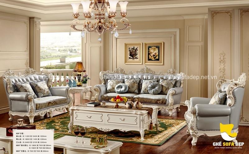 Mang sắc xanh của mẫu ghế sofa cổ điển đến với phòng khách của bạn