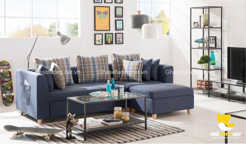 Chiếc sofa giường màu xanh với sắc thái mạnh mẽ sẽ là nhân vật trung tâm của phong cách này
