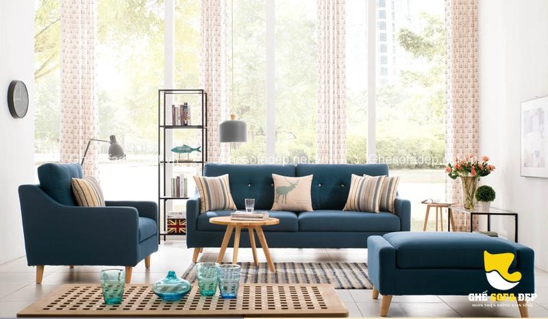 Phong cách Bắc Âu phóng khoáng cùng những chiếc sofa giường màu xanh xinh đẹp