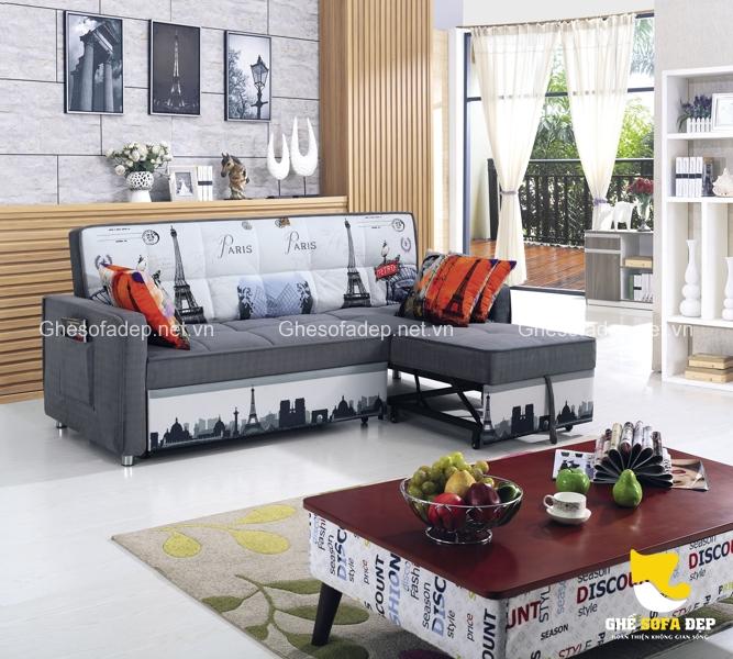 Mẫu sofa giường thông minh họa tiết Paris độc đáo