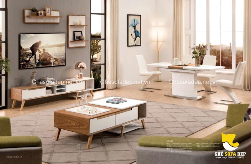 Những chiếc bàn trà nhỏ gọn sẽ rất tiện dụng trong căn phòng khách chung cư