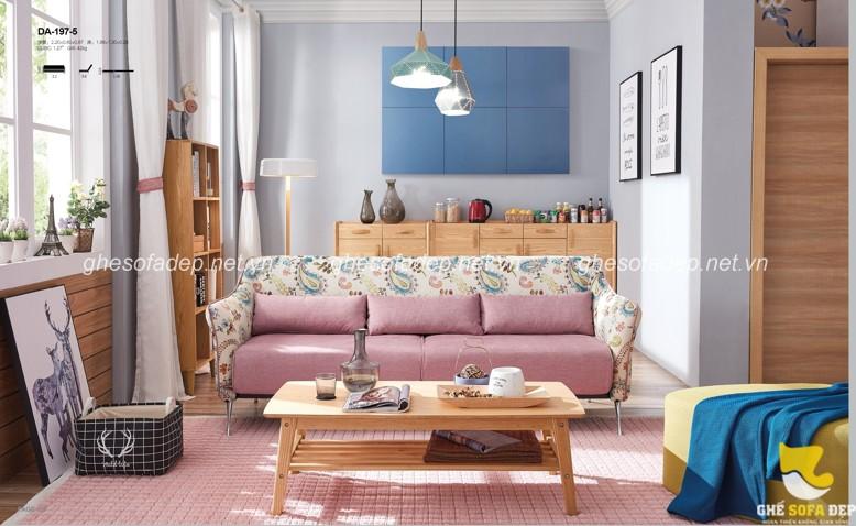 Ghế sofa giường màu hồng xinh xắn với chất liệu da