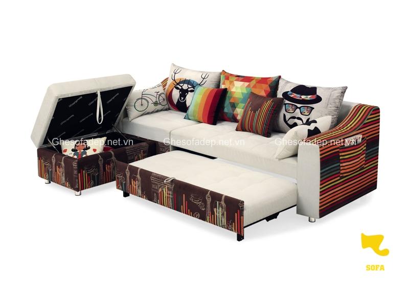 Mẫu sofa giường sở hữu gam màu ấn tượng và độc đáo